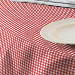 Fata de masa impermeabila (teflonata) Casa de bumbac, Menorca, 220x140 cm, patratele mari, Rosu