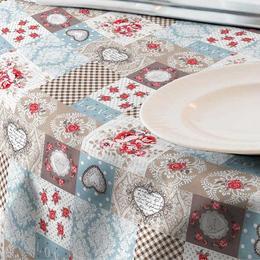 Fata de masa impermeabila (teflonata) Casa de bumbac, Lia, rotunda, diametru 140 cm, Model Vintage, rosu si bleu