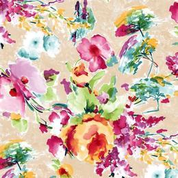 Fata de masa anti-pete Casa de bumbac, Miranda, 180x140 cm, Model floral, multicolor