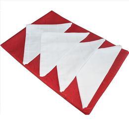 Set fata de masa + 4 servetele, Casa de Bumbac, 100x150 cm, rosu cu alb