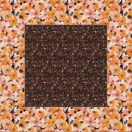 Fata de masa in si bumbac, Colectia Luxurio, Casilda Black, 260x160 cm, negru, bej cu model floral multicolor