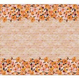 Fata de masa in si bumbac, Colectia Luxurio, Casilda, 220x160 cm, bej cu model floral multicolor