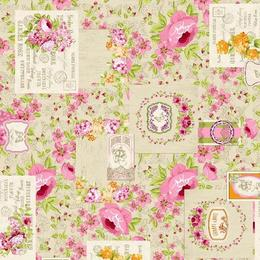 Fata de masa anti-pete Casa de bumbac, Betsy, 100x140 cm, Model vintage, floral, roz si bej