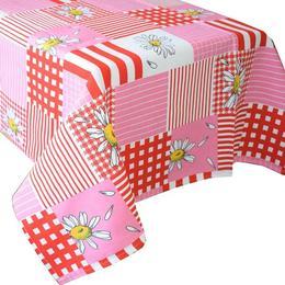 Fata de masa bumbac 100%, Casa de bumbac, 180x150 cm, Floral, Rosu si alb