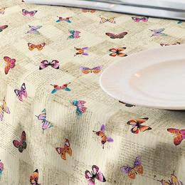 Fata de masa impermeabila (teflonata) Casa de bumbac, Papillon, 180x140 cm, Model Fluturi, Bej