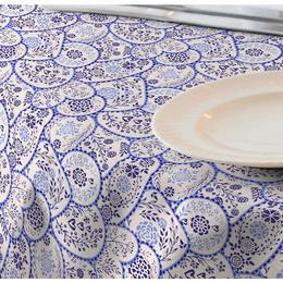 Fata de masa anti-pete Casa de bumbac, Ona, 220x140 cm, Model Floral, albastru