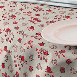 Fata de masa anti-pete Casa de bumbac, Gufo, 180x140 cm, Model bufnite rosii