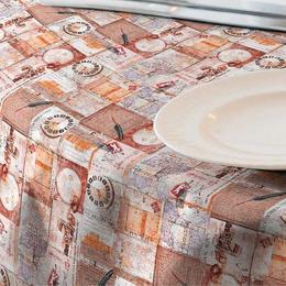 Fata de masa impermeabila (teflonata) Casa de bumbac, Globe, 100x140 cm, model vintage, bej si maro
