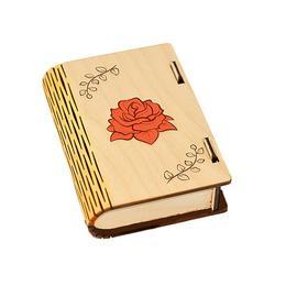 Cutie coperta de carte din lemn cu oglinda pentru farduri, bijuterii, obiecte mici produs handmade - Piksel