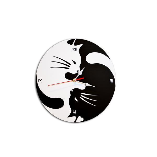 Ceas decorativ de perete rotund 30 cm cat Yin si Yang alb si negru feng shui – Piksel