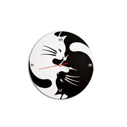 Ceas decorativ de perete rotund 30 cm cat Yin si Yang alb si negru feng shui - Piksel