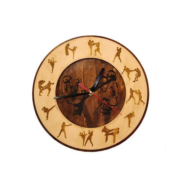 Ceas de perete decorativ 30 cm din lemn cu imagini sportive – Piksel