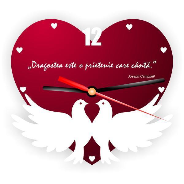 Ceas de perete prietenie inimioara cu porumbei decoratiune cadou special – Piksel