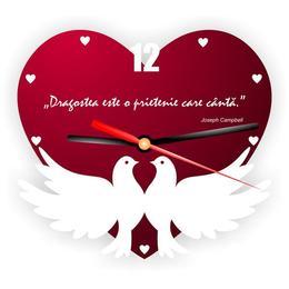 Ceas de perete prietenie inimioara cu porumbei decoratiune cadou special - Piksel