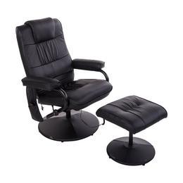 Fotoliu de masaj D&S - cu sistem de incalzire si scaun pentru picioare, Negru