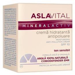 Crema Hidratanta Antipoluare SPF 10 - Aslavital Mineralactiv Moisturizing Anti-Pollution Cream, 50ml