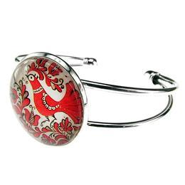 Bratara metalica cu model folcloric cuc rosu, GlamBazaar
