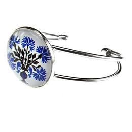 Bratara metalica model folcloric flori albastre, GlamBazaar