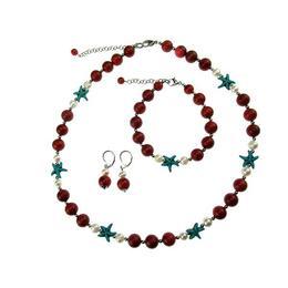 Set coral poros natural, perle de cultura si stele turcoaz, GlamBazaar
