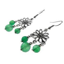 Cercei candelabru floare cu agate verzi fatetate, GlamBazaar