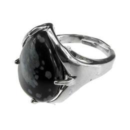 Inel aliaj reglabil cu obsidian fulg-de-nea natural, GlamBazaar