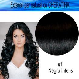 Extensii Par Natural cu Cheratina, lungime 50 cm, negru intens, 100 buc extensii
