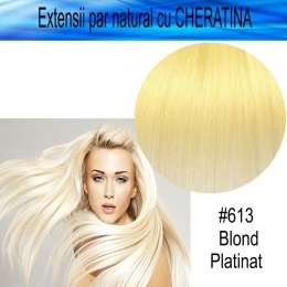 Extensii Par Natural cu Cheratina, lungime 55 cm, blond platinat, 100 buc extensii