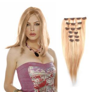 Extensii clip - on Veritable cu 10 piese, lungime 50 cm , culoare blond aramiu ( # 27 ) poza