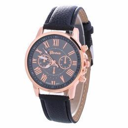 Ceas de dama Fashion Geneva, curea piele, cadran negru