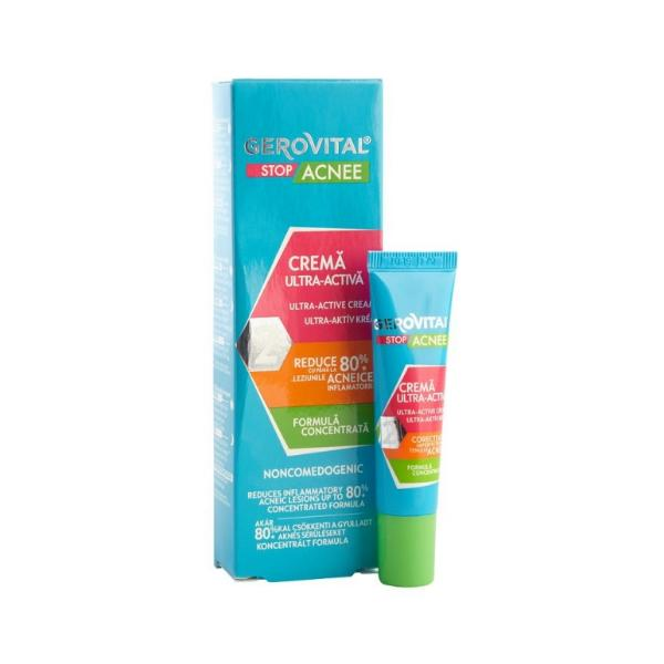 Crema Ultra-Activa - Gerovital Stop Acnee Ultra-Active Cream, 15ml