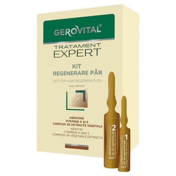 Kit Regenerare Par Fiole - Gerovital Tratament Expert Kit for Hair Regeneration Ampoules, 20 fiole imagine produs