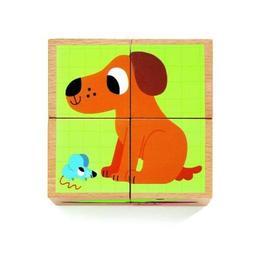 Cuburi din lemn - Animale nostime - Djeco