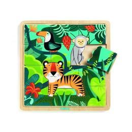 Puzzle incastru de lemn - Jungla animalelor - Djeco