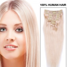 Extensii clip - on Veritable cu 10 piese, lungime 50 cm , culoare blond platinat ( # 613 )