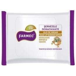 Servetele Demachiante cu Ulei de Argan - Farmec Makeup Remover Wipes, 20 buc