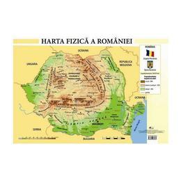 Harta fizica a Romaniei - Plansa A2, editura Aramis