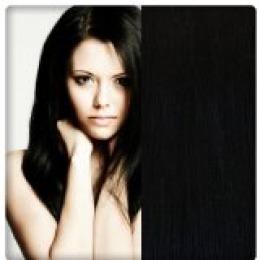 Extensii clip - on Veritable cu 10 piese, lungime 55 cm , culoare negru natural ( # 1 B )