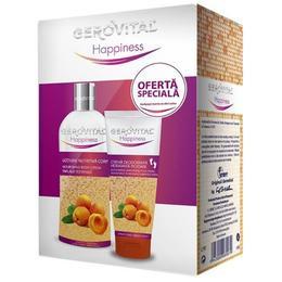 Caseta Cadou Gerovital Happiness - Lotiune Nutritiva de Corp 200ml, Crema Deodoranta Hidratanta pentru Picioare 100ml