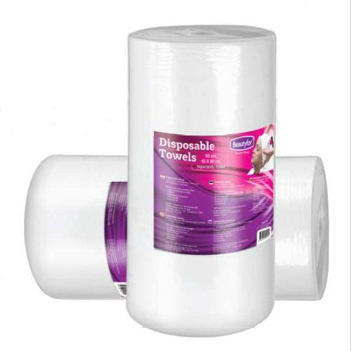 Rola prosoape de unica folosinta din material textil - Beautyfor Disposable Soft Spunlace Towels in Roll, 35cm x 70cm, 100 buc esteto.ro