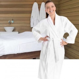 Halat de baie din bumbac - Beautyfor Waffel Pike Bathrobe Kimono 210 Gr/m2, 100% Cotton, White