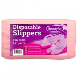 Papuci Spuma Unica Folosinta - Beautyfor Disposable Slippers EVA Foam, 12 perechi