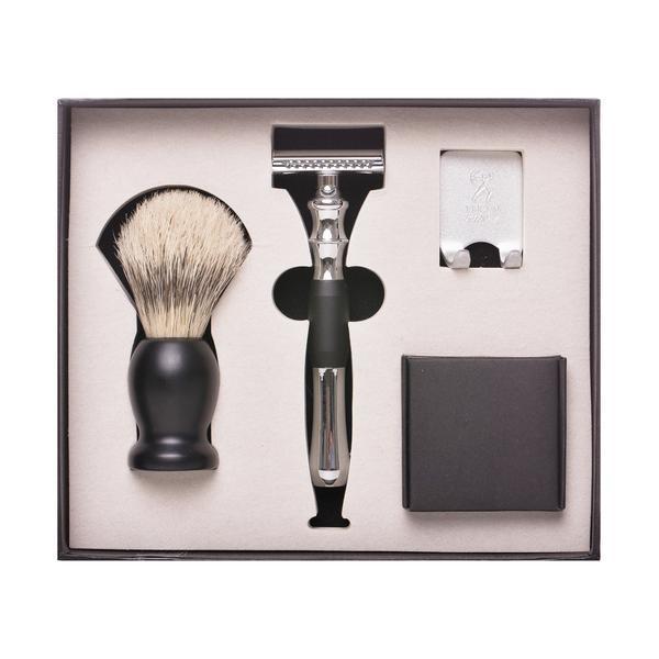 Set de barbierit clasic cu Safety Razor, maner din metal, lama dubla si pamatuf imagine produs