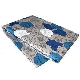 Set Cuvertura cu doua fete de perna, bumbac si in, Madison, 220x240 cm, floral, gri si albastru