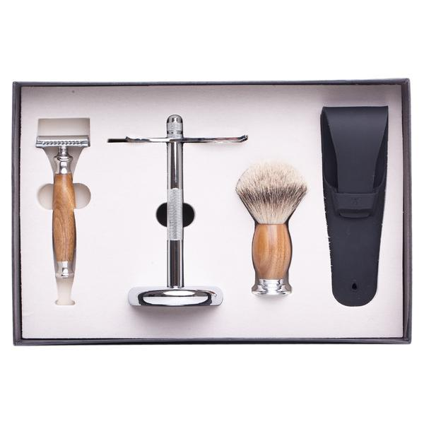 Set de barbierit clasic cu Safety Razor, maner din lemn mahon, lama dubla, pamatuf par bursuc si suport metal imagine produs