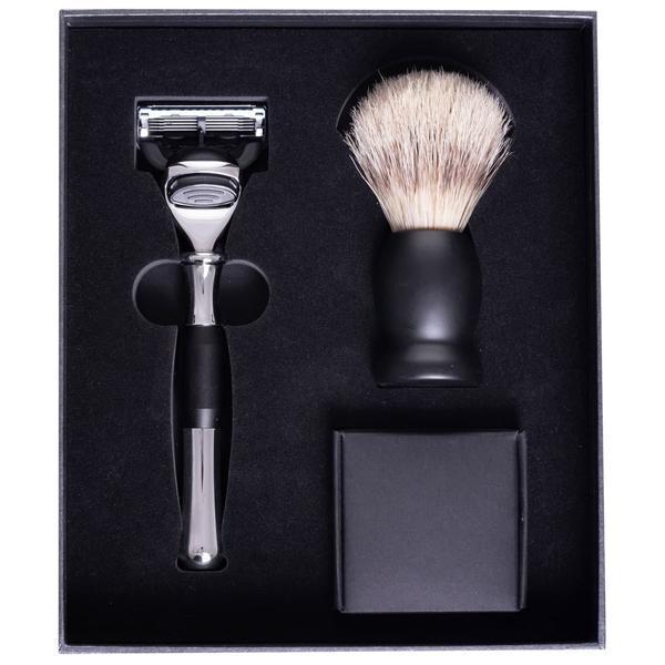 Set de barbierit cu Safety Razor, 5 lame, maner din metal argintiu si pamatuf imagine produs