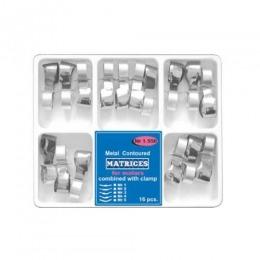 Matrici Conturate Metalice cu Maner de Fixare pentru Molari Prima, grosime 50 microni, set 4 / 5 tipuri, 16 buc