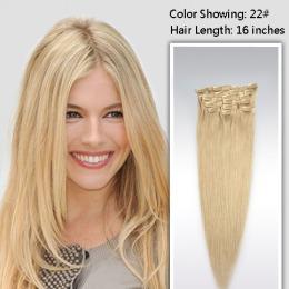 Extensii clip - on Veritable cu 10 piese, lungime 60 cm , culoare blond roscat ( # 16 )