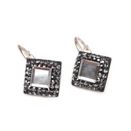 Cercei Queen Stone Base Ceralun Black Diamond, Gri, Argint 925, 10mm