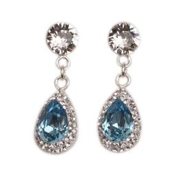 Cercei Queen Stone Pear Ceralun Aquamarine, Cristal/ Albastru deschis, Argint 925, 14mm
