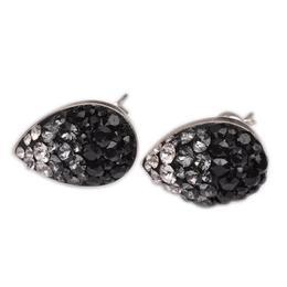 Cercei Queen Stone Multi Pear Ceralun Black Diamond, Gri/Negru, Argint 925, 14mm